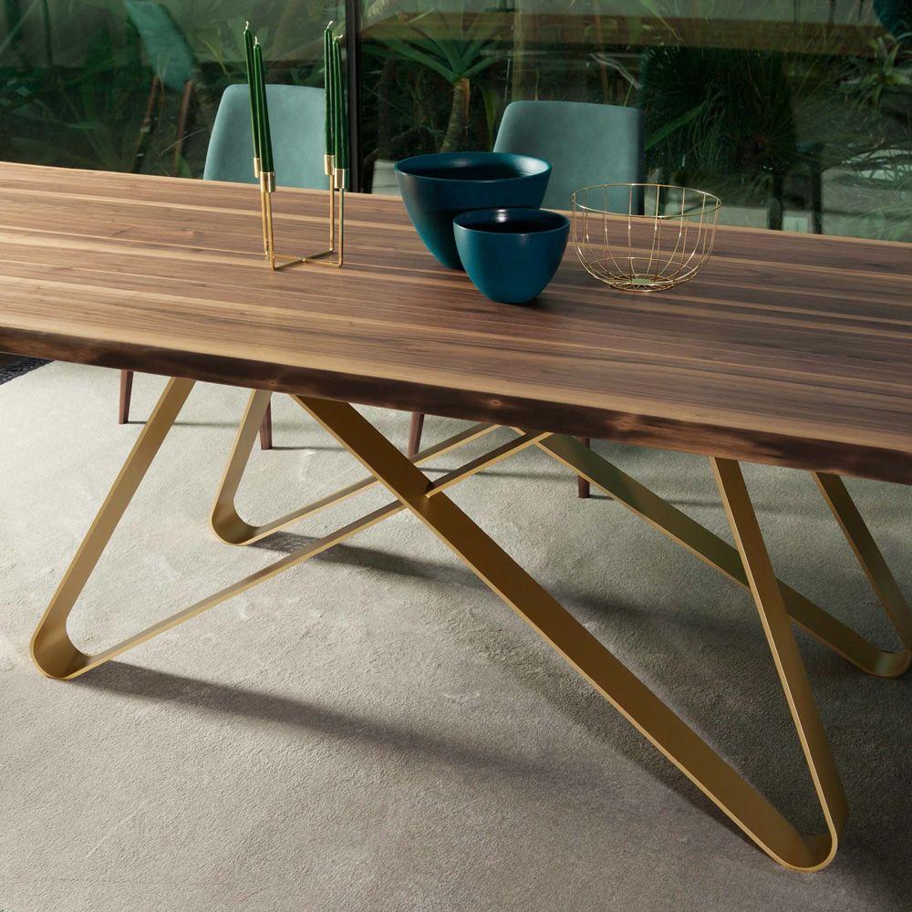 Status 8086FM: Tonin Casa fixed metal table, wooden top 200 x 100 cm ...