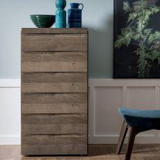 Kart-D - Commode haut Dall'Agnese en bois, disponible en différentes finitions et dimensions, six tiroirs