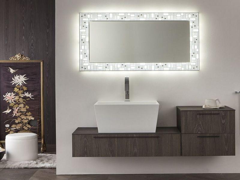 City c miroir avec cadre lumineux en m tal led for Miroir cadre metal