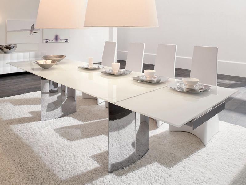 Manhattan a 8051 tavolo allungabile tonin casa in metallo con piano vetro diverse misure e - Tavolo con sedie diverse ...