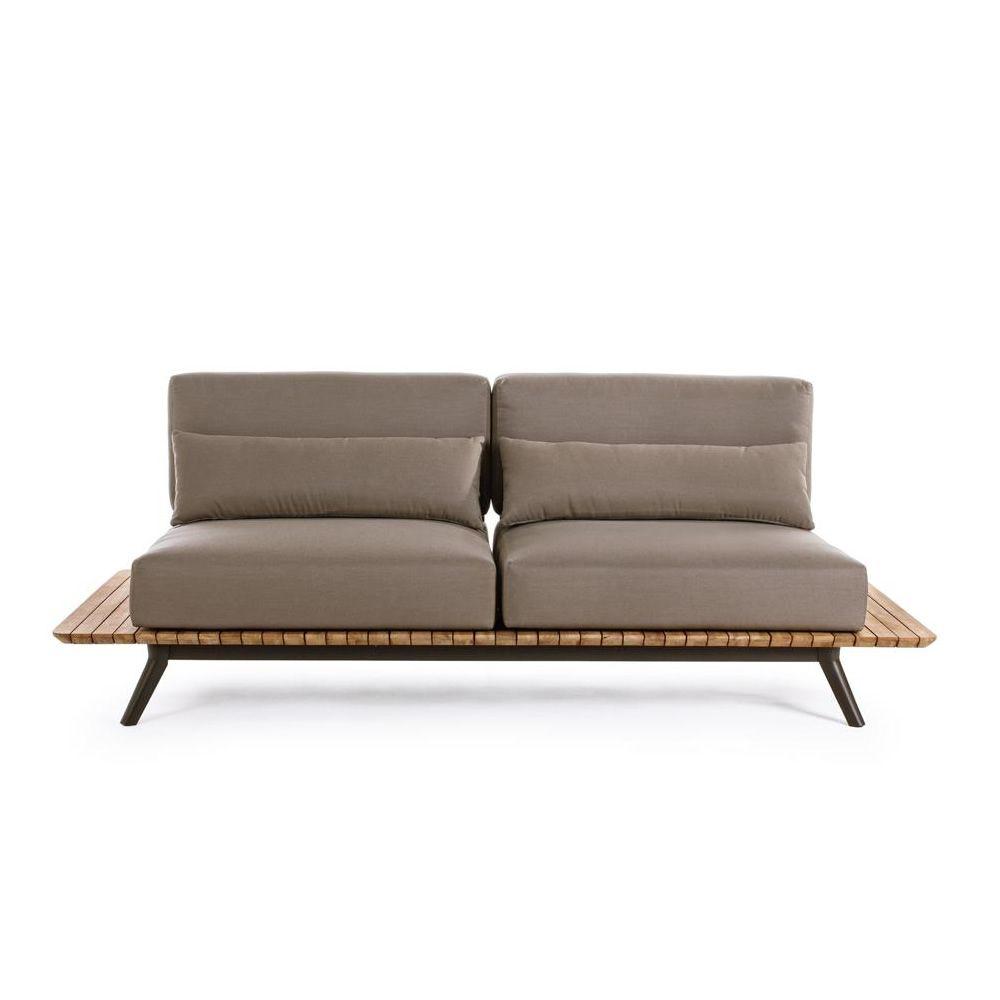 Oka: Sofá de jardín en aluminio y teca, desenfundable - Sediarreda