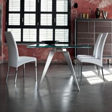 Ramos Ext - Design table Bontempi Casa, 200 x 106 cm extendible, with metal structure and top in glass, available in different colours