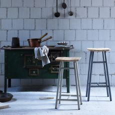 Dedo - Miniforms stool in metal and wood, available in different dimensions