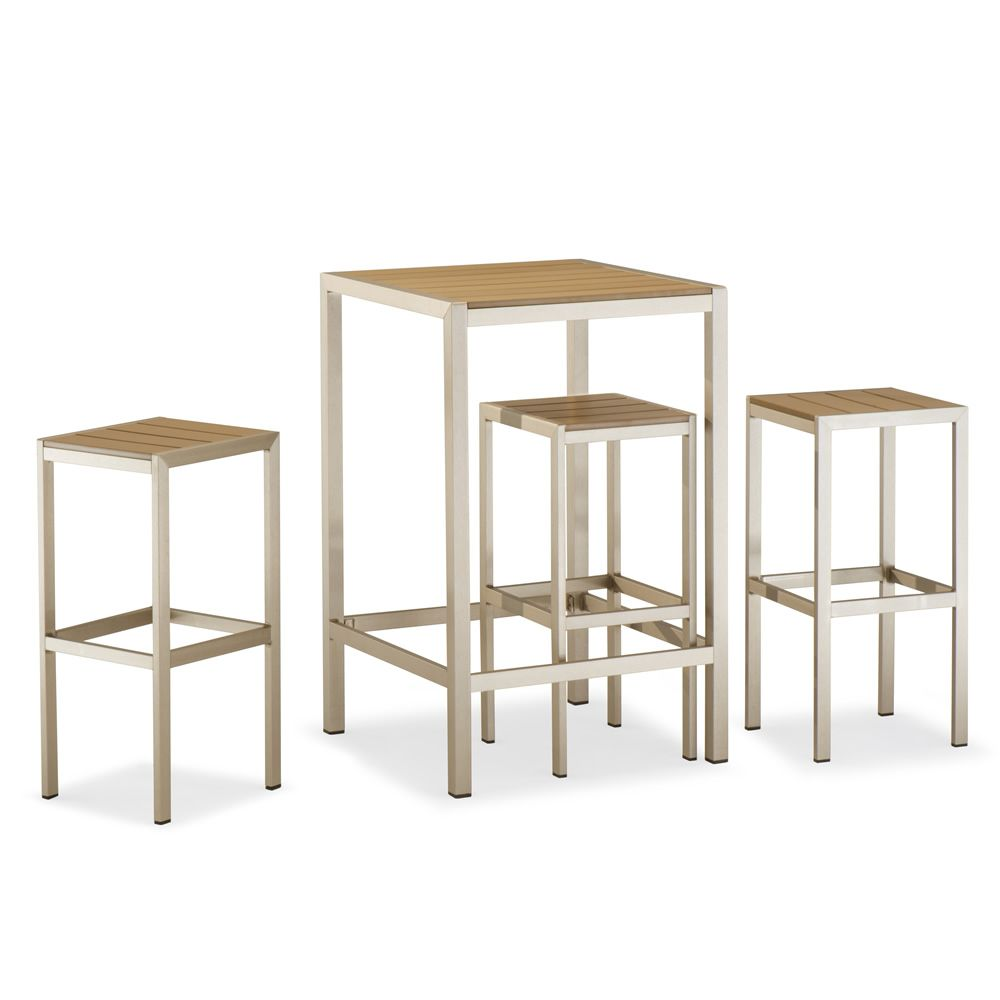 TT27: Garden set with one high table and 2 stools, in aluminium and ...