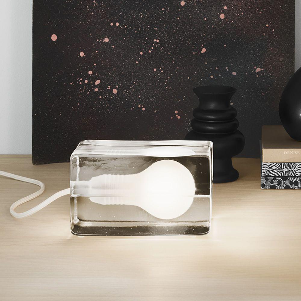 Block - Lampada da tavolo di design in vetro, LED, con cavo in tessuto bianco o nero - Sediarreda