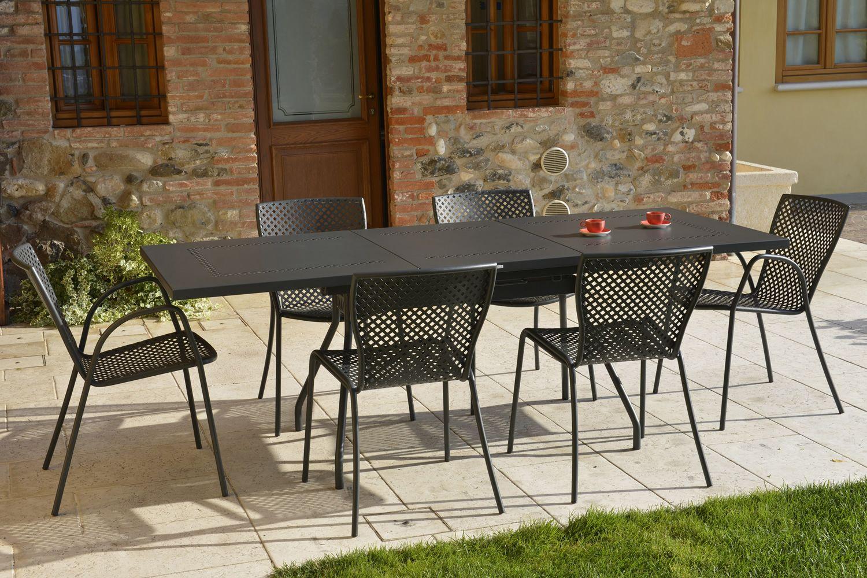 RIG70: Tisch aus Metall für Garten, rechteckigere Platte ...