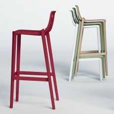 Isidoro - High bar stool in metal and polymer, stackable, sitz's height 65 or 77 cm, available in different colours, also for outdoor