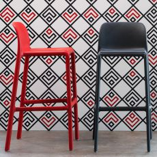 Faro - Polypropylene stool, stackable, available in several colours and seat's heights, also for garden