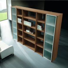 Libreria 01 - Libreria per ufficio altezza 215 cm, con 5 ripiani e due ante in vetro, in laminato disponibile in diverse finiture