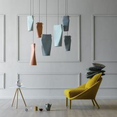 Dent - Miniforms suspension lamp, in wood and ceramic, available in different dimensions