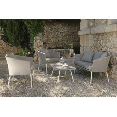 Amy Set - Salon de jardin design: 1 canapé, 2 fauteuils et 1 table basse en aluminium 98 x 55 cm