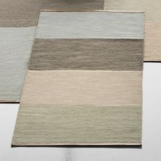Fields 4 - Tappeto in pura lana, due misure disponibili, bordi in pelle