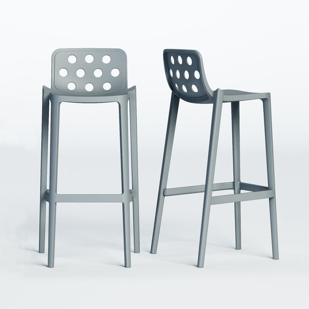 isidoro high stool in metal and polymer stackable seat. Black Bedroom Furniture Sets. Home Design Ideas