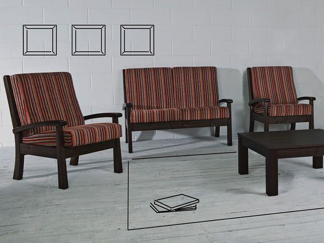 Lar7 divano divano rustico in legno con cuscini for Divani rustici