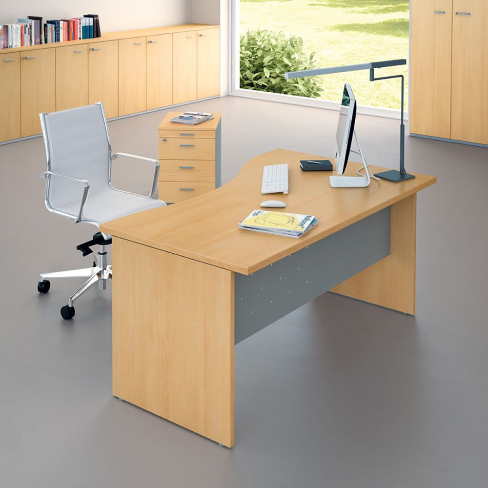 Idea panel 03 office desk in laminate and metal for Mondo office scrivanie