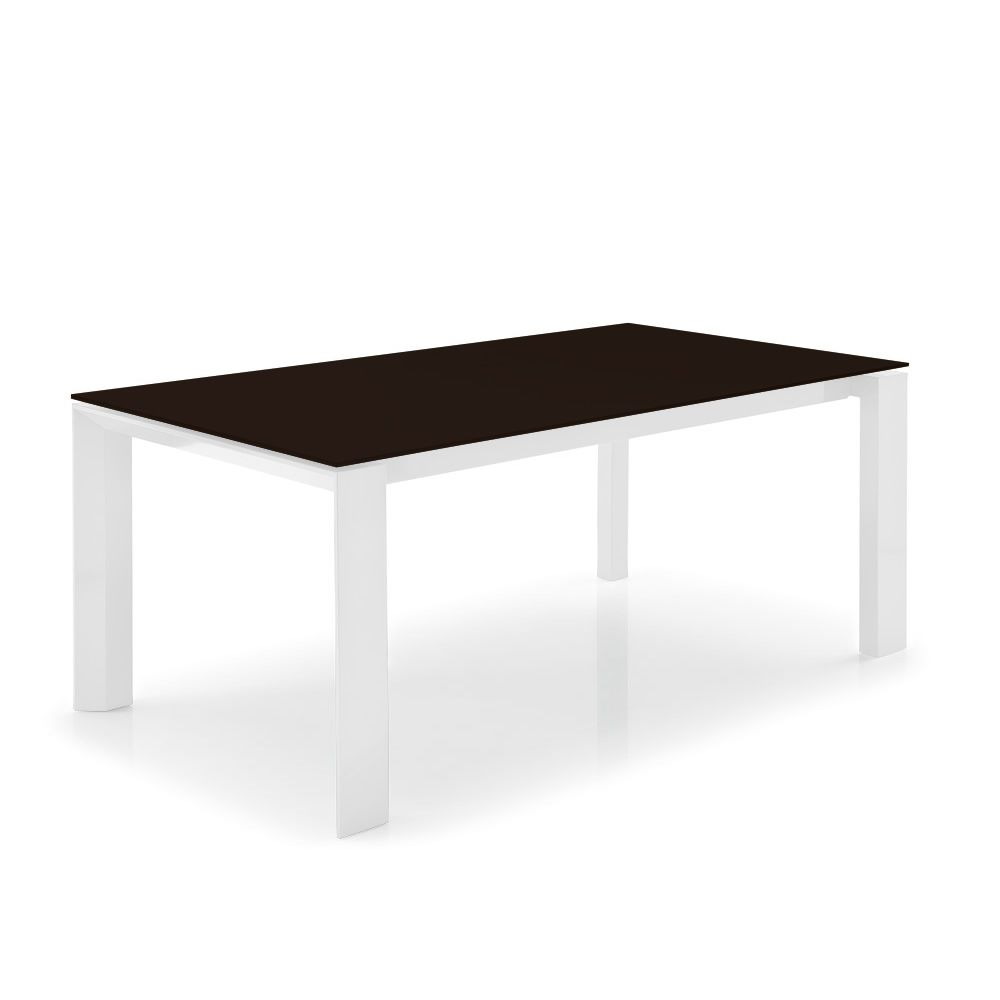 Cs4058 lv 160 omnia glass table calligaris en bois avec for Table 160 cm avec rallonge