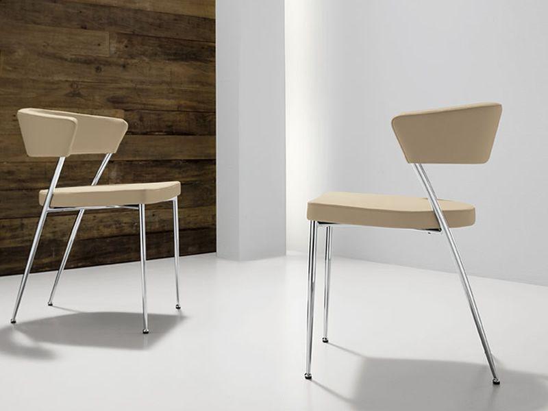 prinz stuhl midj aus metall mit bezug aus leder kunstleder oder stoff sediarreda. Black Bedroom Furniture Sets. Home Design Ideas