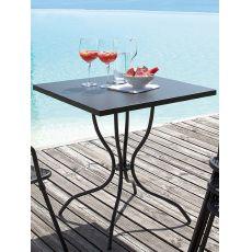 Candle - Mesa de metal para jardín, sobre cuadrada disponible en distintos tamaños, con foro para parasol
