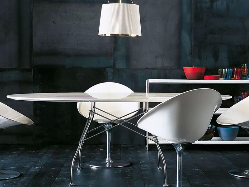 Glossy Kartell Design Metal Table Oval Top In Mdf