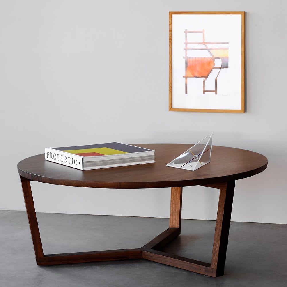 Tripod-L: Table basse ronde Ethnicraft en bois, en différentes ...