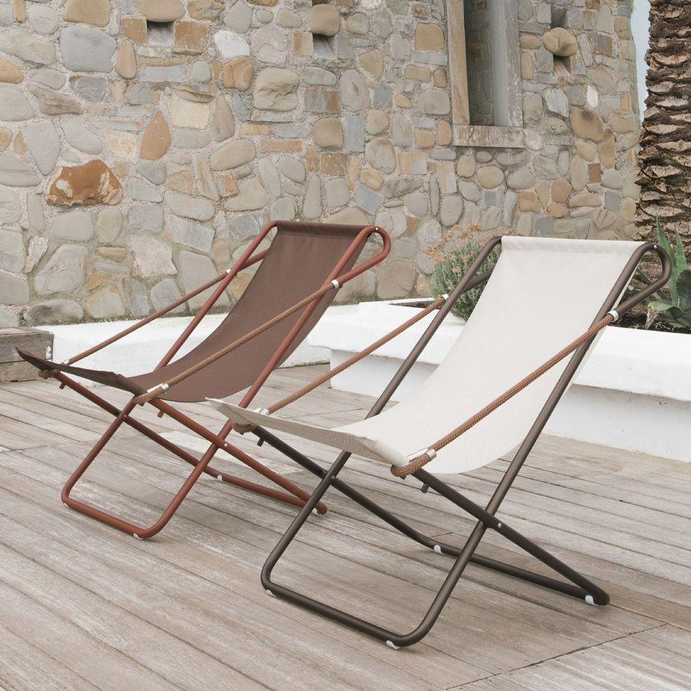 Vetta | Sedia sdraio con struttura in metallo verniciato marrone India o corten