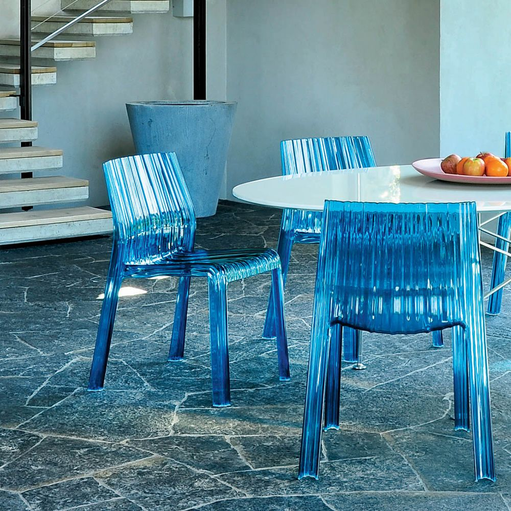 frilly kartell design chair in polycarbonate stackable also  - frilly  kartell chairs matching with glossy table