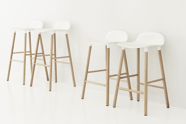 Sgabello in legno bianco: sgabello moderno in legno nero bianco fat