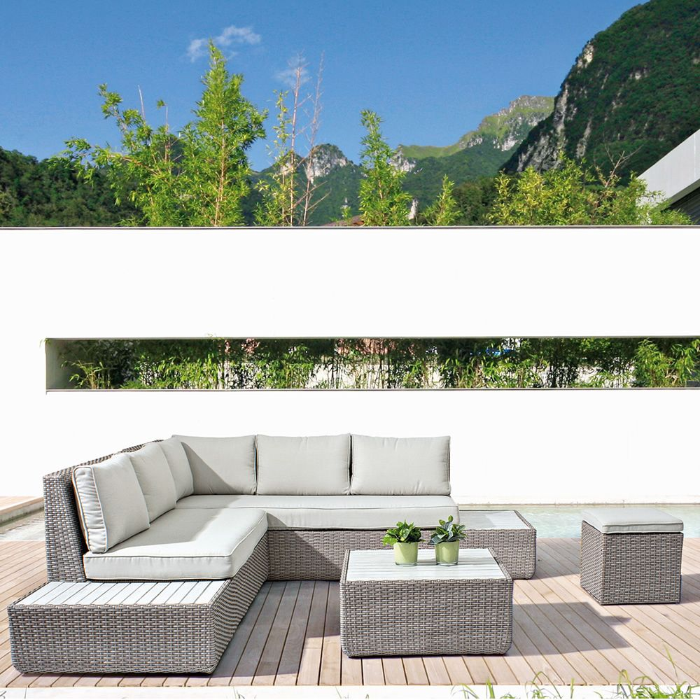 kemi set set f r garten aus kunstrattan 1 sofa couchtisch 2 pouf sediarreda. Black Bedroom Furniture Sets. Home Design Ideas