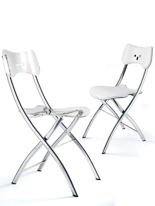 opl chaises pliantes en m tal et vitrex transparent ou cuir blanc. Black Bedroom Furniture Sets. Home Design Ideas