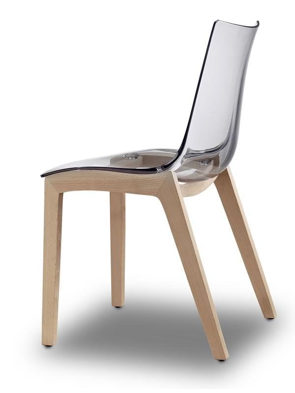Natural zebra 2805 chaise en bois et polycarbonate for Chaise en polycarbonate