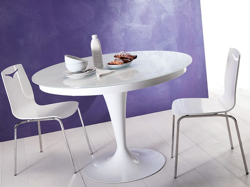 Eclipse table ronde en m tal plateau en verre diam tre for Table a rallonge en verre