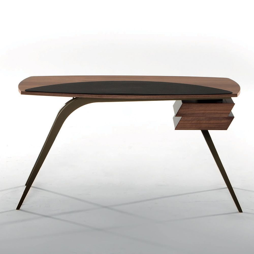 Logos 7005 Metal Writing Desk Top In Cana Walnut Wood With Detail