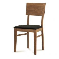 Arcade - Chaise Domitalia en bois, assise garnie avec revêtement en tissu marron