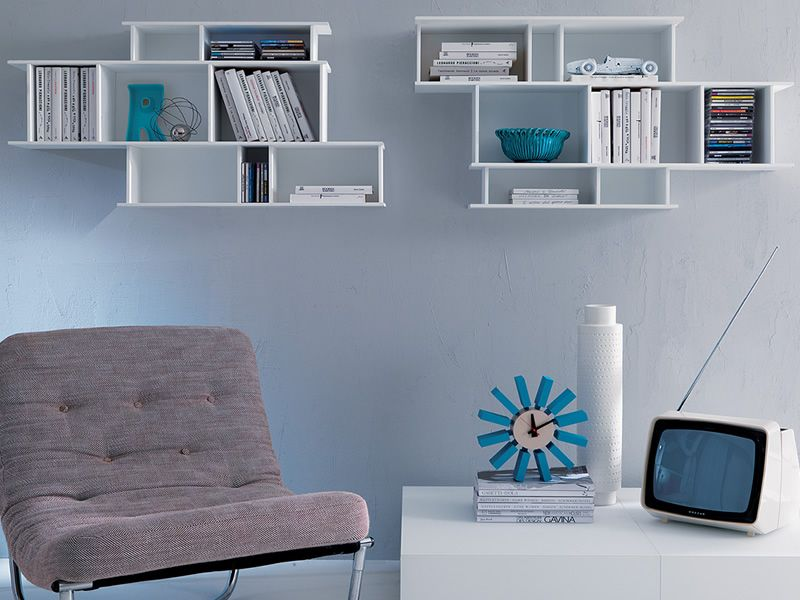 Demie libreria modulare da parete in legno sediarreda