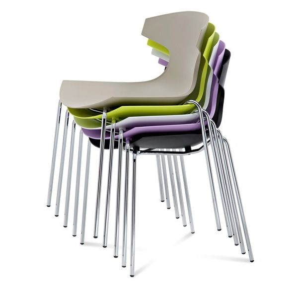 echo stackable chairs made of chromed metal with seat different colours available