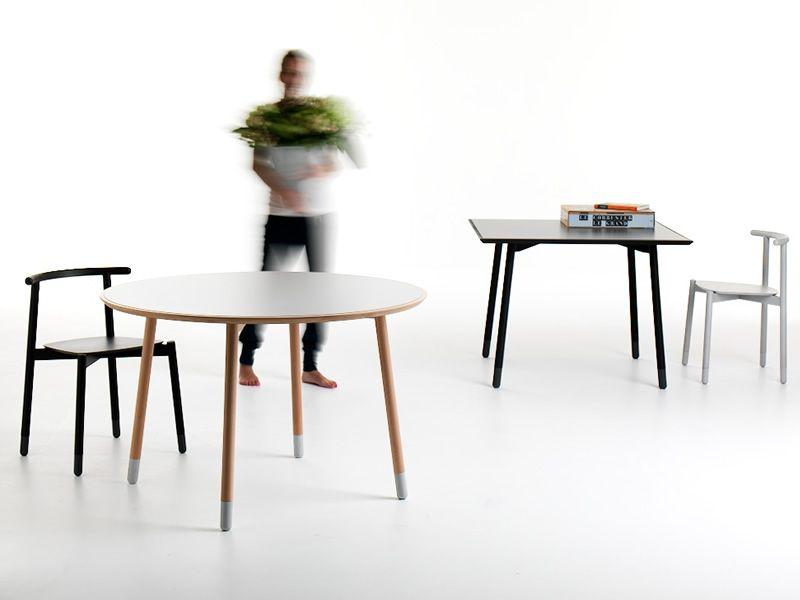 Stick t tavolo fisso valsecchi in legno con piano in for Tavolo rotondo nordico