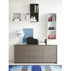 CB6031-3 Password - Connubia - Calligaris sideboard made of lacquered wood, two doors and three drawers, 185 x 52 cm