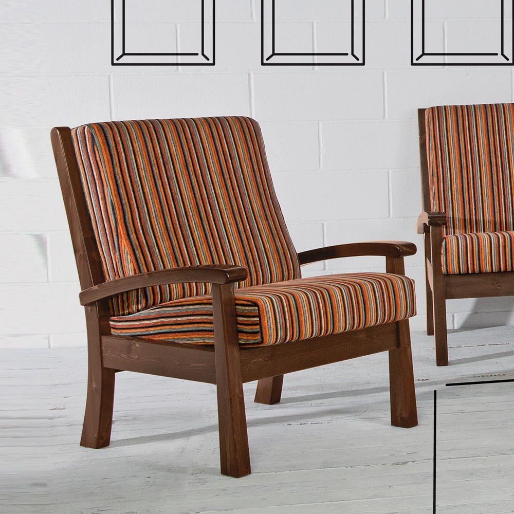 LAR7 Poltrona - Poltrona rustica in legno, con cuscini, disponibile ...