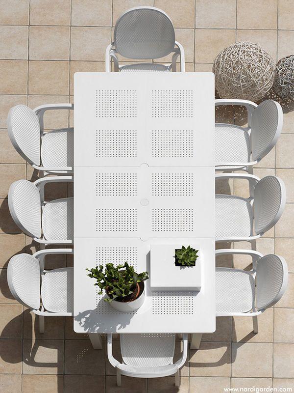 Libeccio - Table à rallonge en métal, plateau en résine 160x100 cm ...