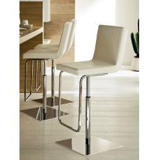 Afro Sg - Sgabello Domitalia in metallo, girevole e regolabile, seduta in similpelle, diversi colori disponibili