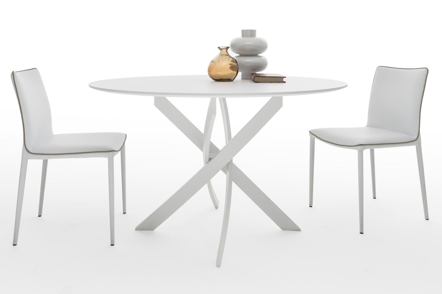 Barone: Design round table Bontempi Casa, fixed, in metal with glass ...
