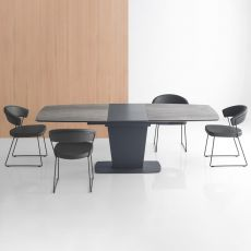 CB4783-XR Athos - Connubia - Calligaris table in metal, rectangular top 180 x 100 cm extendable, available in different finishes