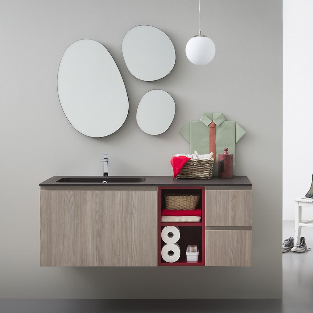 Lapis B | Sink cabinet in rope elm colour finish with details in matt red, matching with Drop mirror