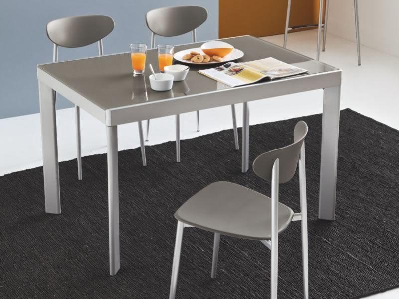 731 v tavolo in metallo con piano in vetro 80x120 cm for Sedie struttura acciaio satinato