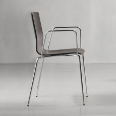 Alice Wood 2845 - Modern chair in chromed metal, stacable, with or without armrest, seat in wood, available in different colours