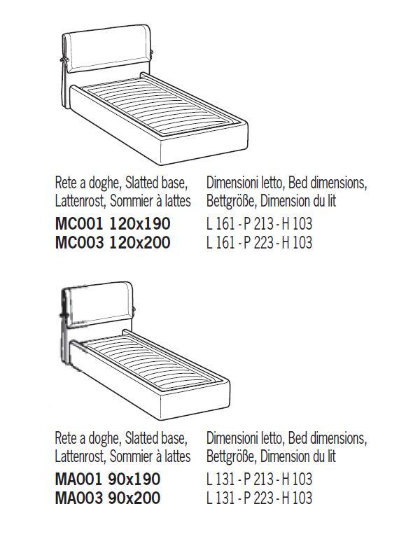 Enna cama matrimonial acolchada disponible en varias for Medidas de la cama individual