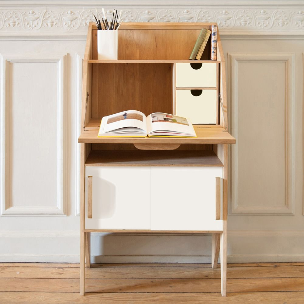 Origami S Ethinicraft Wooden Writing Desk With Doors And Drawers