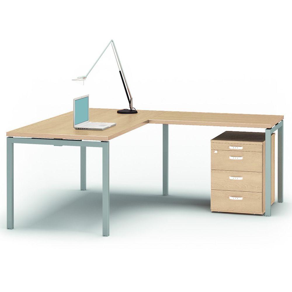 idea ca 10 bureau de direction avec retour de secr taire cadre en m tal et plateau en lamin. Black Bedroom Furniture Sets. Home Design Ideas