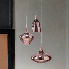 Nostalgia - Lampada a sospensione di design, in vetro soffiato, LED, con 3 lampade di forma diversa, disponibili vari colori