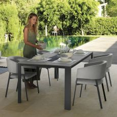 Eden - T - Garden table in aluminium and gres, 220x100 cm, available in several colours